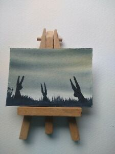 ELW Original, Aceo Cards.   Hare family in the long grasses.