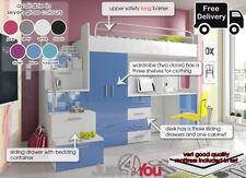 MODERN LOFT SET BUNK BED KIDS YOUTH WARDROBE DESK BED WITH MATTRESS EDEN 4s MDF