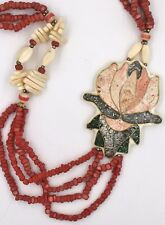 Southwestern Style Inlaid Squash Flower Coral Fall Color Bead Pendant Necklace