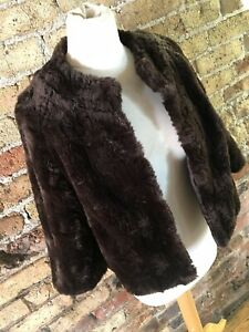 Vintage style 'Monsoon' chocolate brown faux fur short coat or jacket size 12