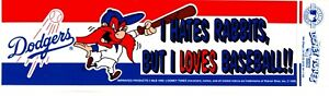 "1992 LA Dodgers Bumper Sticker YOSEMITE SAM LOONEY TUNES I Hates Rabbits 10.5"""
