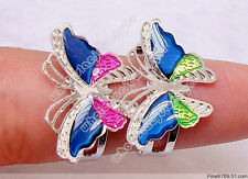 New Wholesale Lots 100Pcs Butterfly Fashion Colorful Mood Adjustable Rings