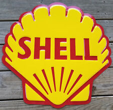 "SHELL GASOLINE OIL COMPANY RED YELLOW CLAMSHELL 23 1/2"" EMBOSSED METAL ADV SIGN"