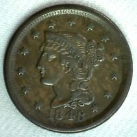 1848 Braided Hair US Large Cent Coin 1c US Coin XF Extra Fine Circulated Penny