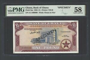 Ghana 1 Pound  01-07-1958 P2as Specimen Uncirculated Grade 58