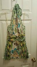 BISOU BISOU Halter Top Blouse Size Medium Green Floral Lined NWT