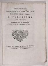 Nicolai, Della possibilità della reale soluzione analitica 1783