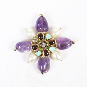 Chanel Purple Gold Gripoix Faux Pearl Brooch Pin