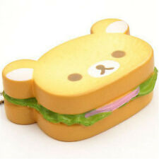 Jumbo Rilakkuma Bear Hamburger Squishy Soft Bread Scented+Straps Phone Charms#