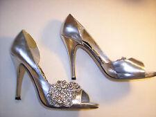 Alicia Hill Audrey Silver Shoes Womens High Heel Pumps  Fancy Rhinestones Sz 8M
