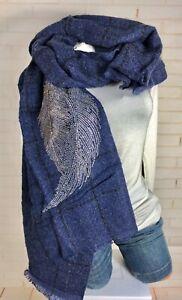 Blogger 🖤 Schal Scarf Schmuck Strass Glitzer Wolle Warm Blau Style NEU