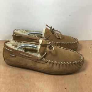 LL Bean Wicked Good Moccasins Slippers Sheepskin Shearling Men's Size 11 M Brown