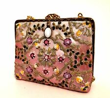 Miniature Handbag Collectible by Nostalgia Pink Beads Gold Chain 2.25 x 2.75