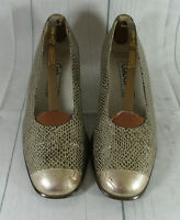 Vintage Style Gabor Gold Metallic Snake Print Genuine Leather   Shoes UK 4