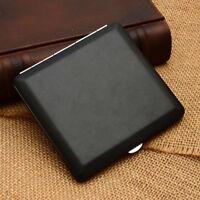 NEW Ultra-thin plain black leather cigarette case Holds 10 cigarettes #311A