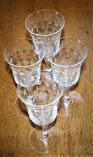 "Set of Four Cut Glass Cordial/Wine Stems - Dots/Leaves- Unknown Mfg - 5"" Tall Bu"