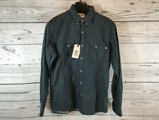 Timberland Mens Navy Black Gingham Long Sleeve Button Down Shirt Size Small NWT