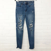 American Eagle Outfitters Stretch Super Hi-Rise Jegging Size 6S Short Distressed