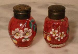 Victorian Antique Ruby Art Glass Enamel Floral Salt and Pepper
