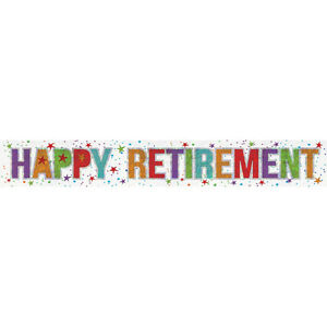 Retirement Banner Party Decoration Bunting Shiny Holographic 2.7 metres