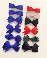 6 PIECE SET Girls Small Hair Bows Clips Grosgrain Ribbon School Uniform Colours