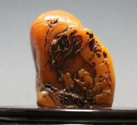 collectible Chinese shoushan stone hand carved Mountain & Tree statue