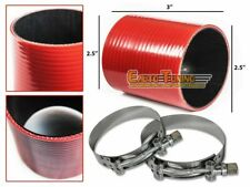 "2.5"" Silicone Intercooler Pipe Straight Coupler RED +T-Bolt Clamp For GMC/Hummer"