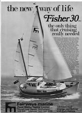 1972 Print advert for FISHER 30 MK II YACHT + Seamaster Sailer Sloop on reverse