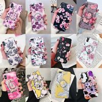 For iPhone XS Max XR X 6 7 8 Plus Flower Pattern Pop Stand Holder TPU Case Cover