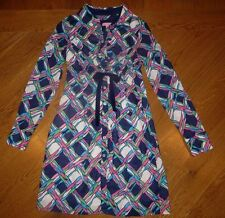 LILLY PULITZER Blue/Pink/White PRINT Button-Front L/S or S/S DRESS Women 2