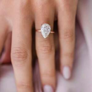 2.00 Ct Colorless Pear Moissanite Solitaire Wedding Ring, Silver Moissanite Ring