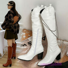 Hot Womens Chain Cowboy Boots Winter Pointed Toe Knee High Riding Boots Shoes Sz