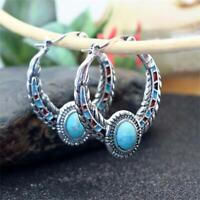 Women Vintage Boho Tibetan Silver Turquoise Dangle Drop Hook Earring Jewelry-