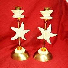 """LALO By Orna Lalo  Candlestick Holder Gold Yellow/Brass Set of 2  Handmade 10"""" H"""