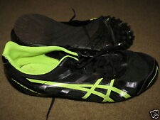 Great Asics Hyper Md 5 black + neon yellowish/green track spikes mens 9