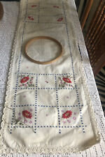 "runner/ Dresser Scarf  LINEN STAMPED to Finish embroider 38""x12""+wood Hoop"