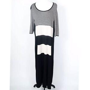Marina Rinaldi Black/Beige Striped Knit Shift Maxi Dress XL