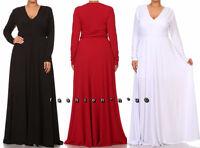 Plus Size Solid Maxi Dress V-Neck Long Sleeve High Waist Full Sweep Long Skirt