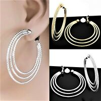 """#C100 CLIP-ON NON-PIERCED 2"""" Circle TEXTURED TRIPLE HOOPS Huggie EARRINGS NEW"""