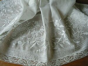 Victorian large embroidered panel voile combo techniques white/ white France #2