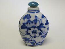 SUPERB ANTIQUE 19 c. CHINESE BLUE & WHITE PORCELAIN SNUFF BOTTLE 古董鼻烟壶
