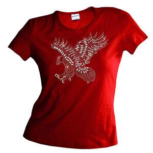Strass Aigle Rivets Rhinestud Aigle Rhinestone Femmes Fille T-Shirt 7203 Rouge