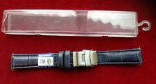 Bracelet De Montre Bleu , En Cuir Avec Boucle Déployante.