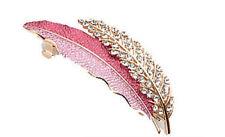 Luxury Wine Red Leaves White Rhinestones Hair Barrette Accessories HA101