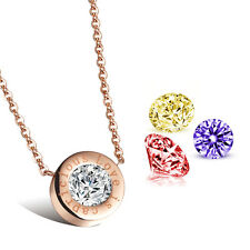 Rose Gold Stainless Steel Necklace Four Color Zircon Stone Pendant High Quality