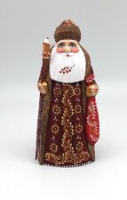 Russian SANTA White Golden Coat Wood Hand Carved Hand Painted Signed