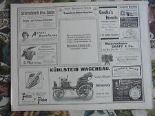 1899 Zeitungsdruck 7 / Reklame Automobil Berlin Marienfelde Kühlstein Wagenbau