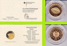 """2011 - 20 EURO - Deutscher Wald - Buche - Buchstabe """"D"""" - GOLD"""