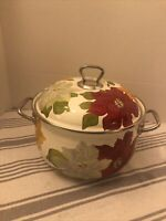 Pioneer Woman Enameled 4 Qt Stock Pot With Lid Floral Design Cookware