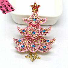 Hot Pink Enamel Cute Christmas Tree Crystal Betsey Johnson Charm Brooch Pin